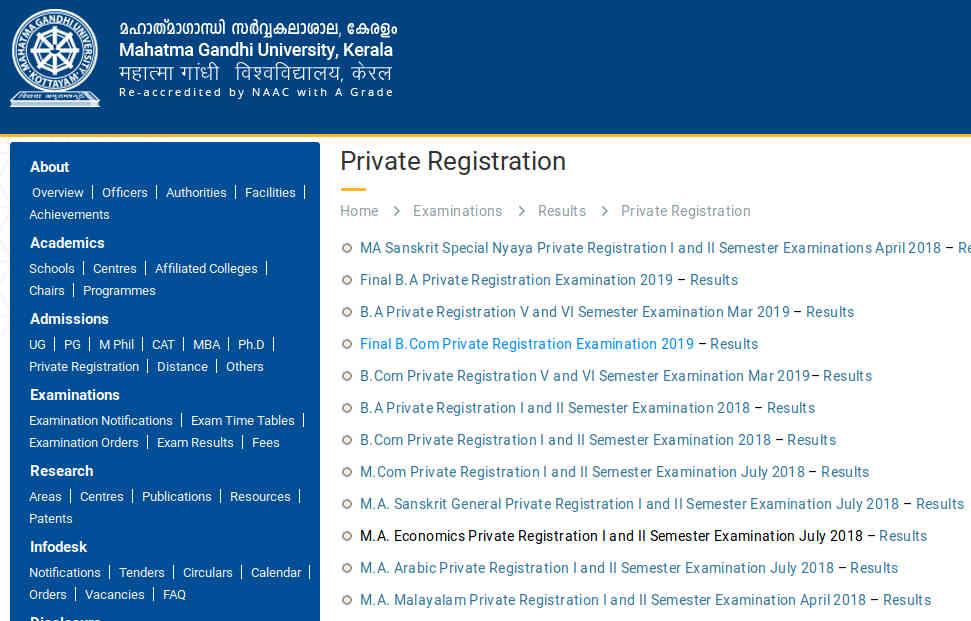 MG University BA / BCom (private registration) Result 2019