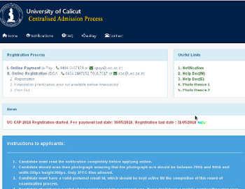 Calicut University Degree Admission 2019 UGCAP Registration